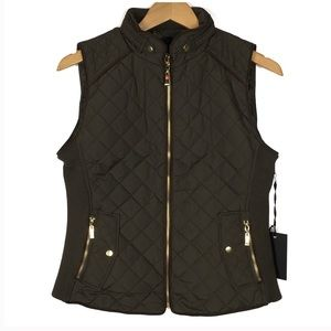 Jackets & Coats - Olive Green Quilted Vest